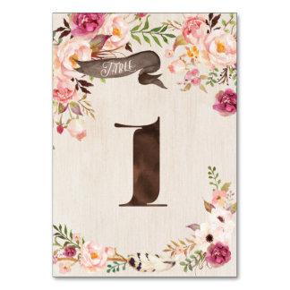 Boho blom- lantligt gifta sig bordsnummerkort bordsnummer