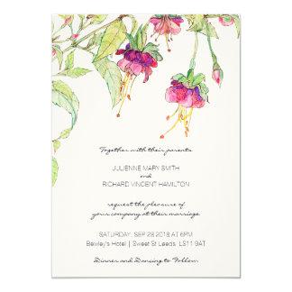 Boho blom- moderna botaniska bröllopinbjudningar 12,7 x 17,8 cm inbjudningskort