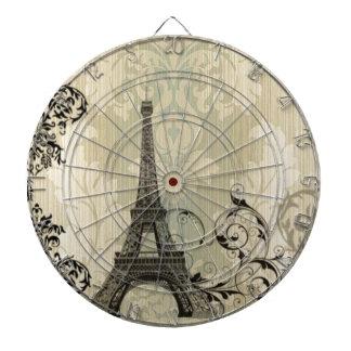 Boho chic beige damastast Paris Eiffel torn Darttavla