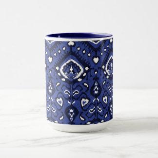 Boho chic marinblåa och för vitikat stam- mönster mugg