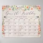 Boho daterar rakt kalendern undertecknar baby poster