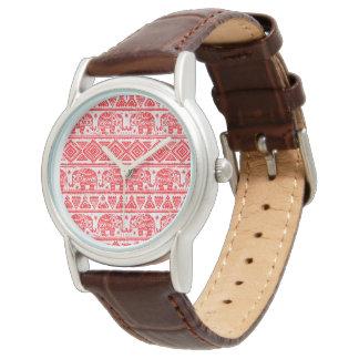 Boho etniskt elefantmönster armbandsur