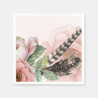 Boho fjädrar och blommor papper servett