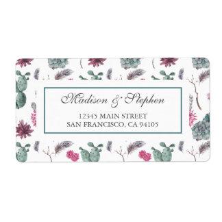 Boho kaktus, suckulent & blommigt - bröllop fraktsedel