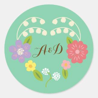 Boho lantlig romantisk blom- kran runt klistermärke