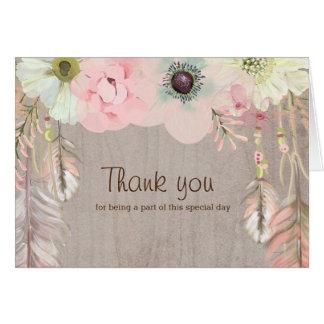 Boho lantlig stam- blommigt och fjäderinbjudan OBS kort