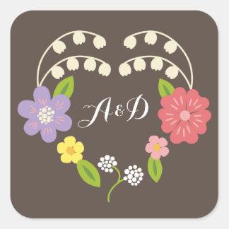 Boho lantligt blom- kranbröllop fyrkantigt klistermärke