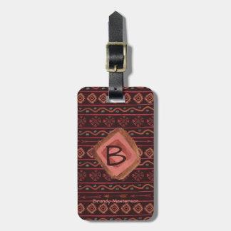 Boho stam- mönster, personlig & Reversible Bagagebricka