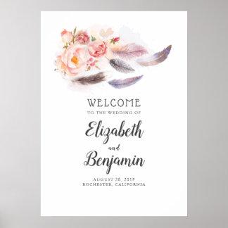 Boho undertecknar blom- fjädrar som gifta sig poster