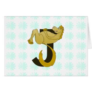 Böjlig ponnypersonlig för Monogram J Hälsningskort