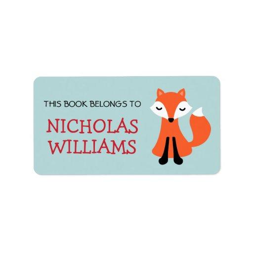 Bok för bokägarmärke för gullig rävtecknad djur adressetikett