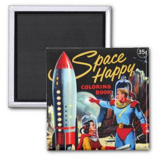 Bok för färgläggning för Retro utrymme för vintage Magneter