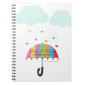 Bok för gäst för baby shower för regnbågeparaply anteckningsbok