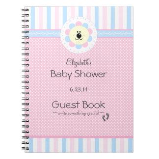 Bok för gäst för baby shower för rosa- och anteckningsbok