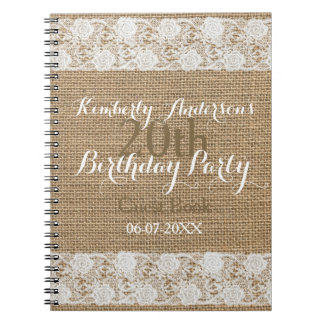 Bok för gäst för födelsedag för romantisk anteckningsbok