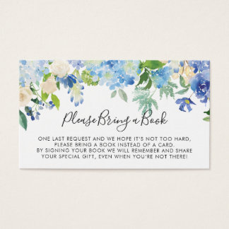 Bok för vattenfärgblåttvanlig hortensia för visitkort