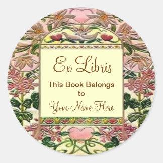 Bokägarmärke för Tapestryhjärtaexlibris Runt Klistermärke