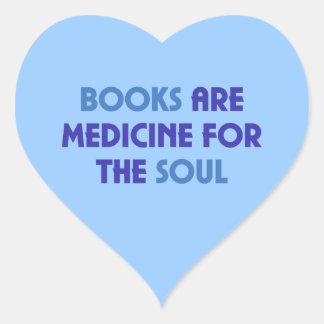 Bokar är medicinen för soulen hjärtformat klistermärke
