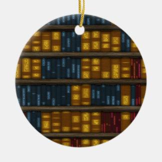 Bokar bokar, bokar - bokhyllamönster julgransprydnad keramik