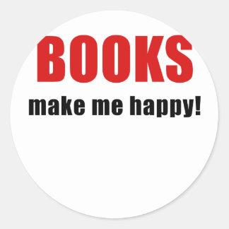 Bokar gör mig lycklig runt klistermärke