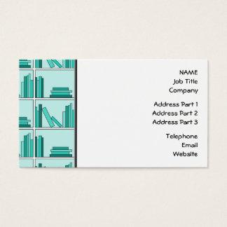 Bokar på hylla. Design i kricka och Aqua. Visitkort