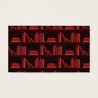 Bokar på hylla. Röd mörk -. Visitkort
