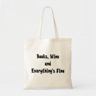 Bokar som vin allt är fint, hänger lös tygkasse