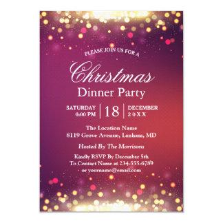 Bokeh för glitter för helgdagjulparty guld- ljus 12,7 x 17,8 cm inbjudningskort