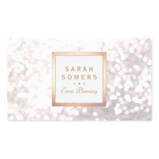 Bokeh för nyckfullt vitglitter elegant guld- ram set av standard visitkort