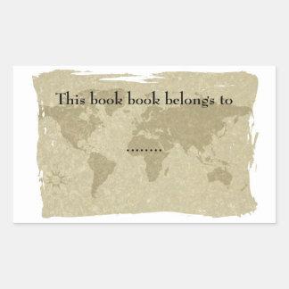 Boken för den Olde världskartan pläterar Rektangulärt Klistermärke