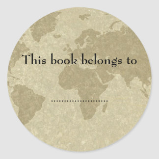 Boken för den Olde världskartan pläterar Runt Klistermärke