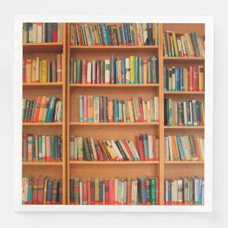 Bokhyllan bokar bibliotekbokmalläsning papper servett