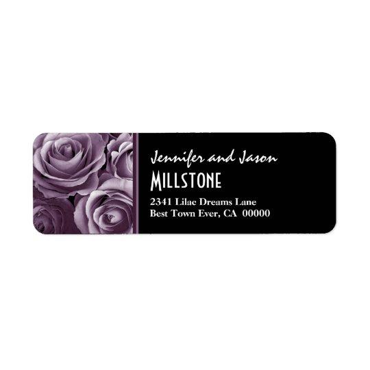 Bokstäver för purpurfärgade ro för lavendel modern returadress etikett