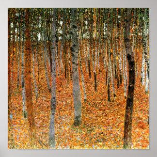 Bokträdskog vid trycket för Gustav Klimt Poster