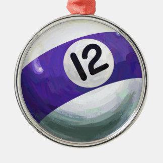 Boll 12 rund silverfärgad julgransprydnad