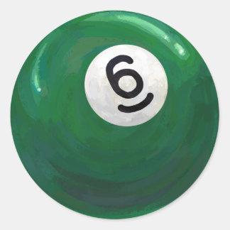 Boll 6 runt klistermärke