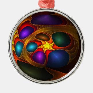 Boll av färger rund silverfärgad julgransprydnad