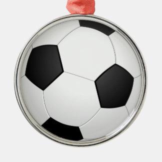 boll för fotboll 3D Rund Silverfärgad Julgransprydnad