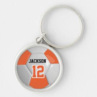 Boll för orange- & vitlagfotboll rund silverfärgad nyckelring