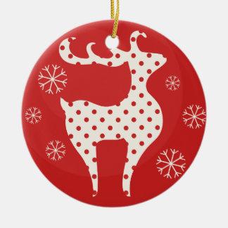 Boll med renen rund julgransprydnad i keramik