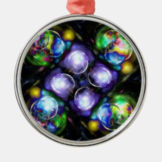 Bollar av avfyrar rund silverfärgad julgransprydnad