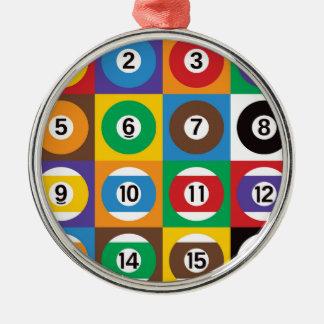 Bollar för popkonstbassäng rund silverfärgad julgransprydnad