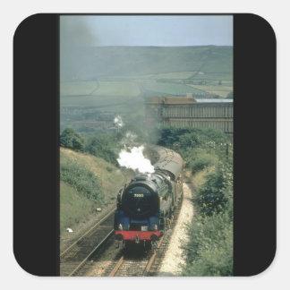 Bomullen mal på Todmorden_Steam tåg Fyrkantigt Klistermärke