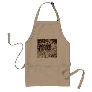 Bomullssvanskaninkanin i gräs, Sepia, Grunge Förkläde