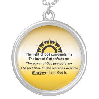 Bön av skydd silverpläterat halsband