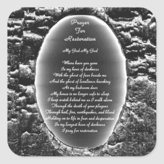 Bön för återställande fyrkantigt klistermärke