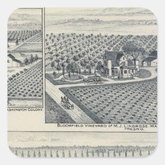 Bonacourt ranch, Washington koloni, Kalifornien Fyrkantigt Klistermärke