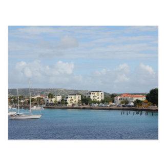Bonaire Kralendijk hamnsegelbåtar Vykort