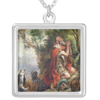Bönen av Gideon, tecknad för en tapestry Silverpläterat Halsband