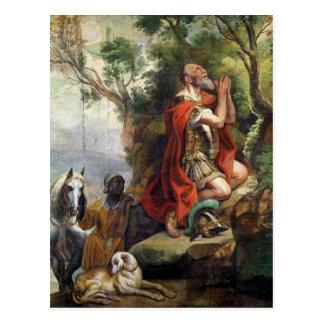 Bönen av Gideon, tecknad för en tapestry Vykort